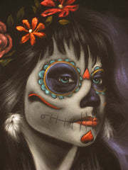 "Sugar Skull Girl, Calavera, Día de muertos, Day of the Dead, Original Oil Painting on Black Velvet by Enrique Felix , ""Felix"" - #F29"