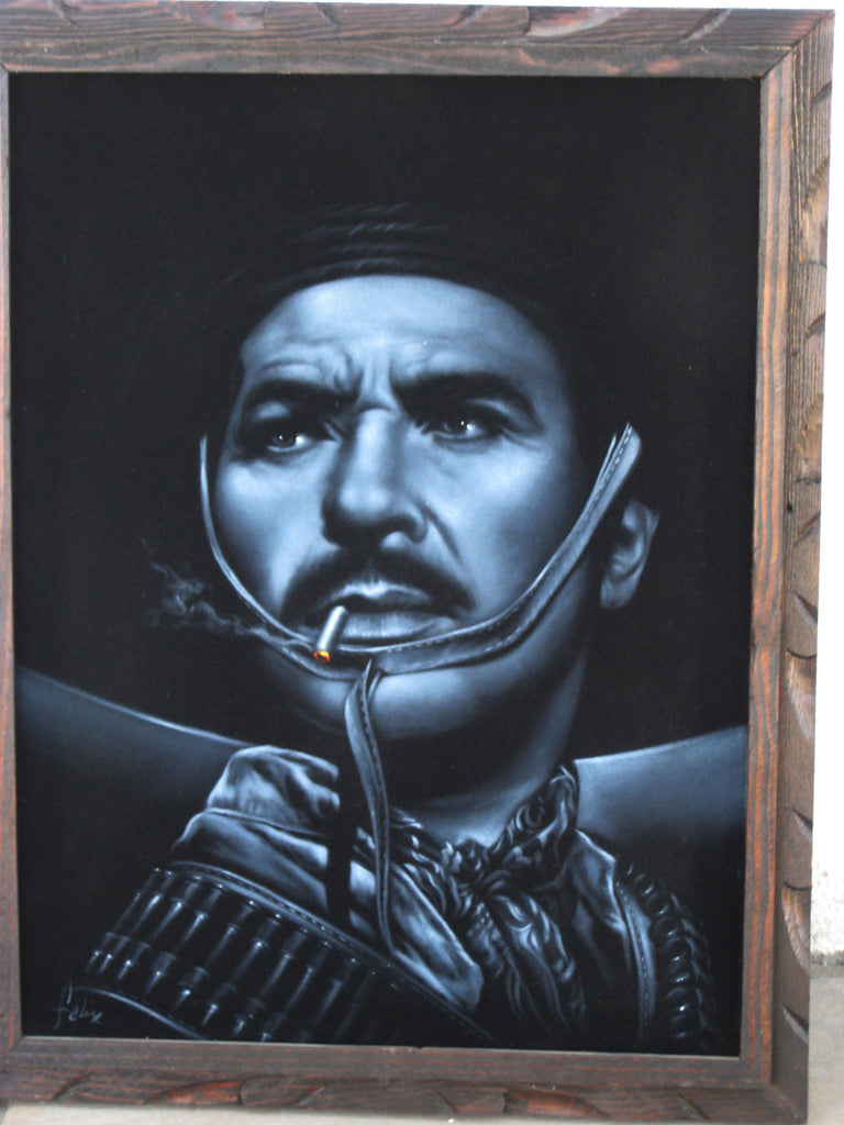 "Antonio Aguilar, Mexican Actor, Original Oil Painting on Black Velvet by Enrique Felix , ""Felix"" - #F13"