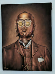 "C3PO as Gentleman vintage photo ; Star Wars Fan Art ; Original Oil Painting on Black Velvet ;   by Jorge Terrones -(size 18""x24"")-p1 J421"