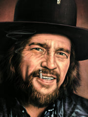Waylon Jennings portrait; Original Oil painting on Black Velvet by Jorge Terrones - #J423