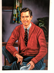 Fred Rogers ; Mister Rogers' Neighborhood; Original Oil painting on Black Velvet by Jorge Terrones - #J248