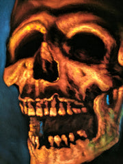 Pirates of the Caribbean Tiki voodoo Skull ; Original Oil painting on Black Velvet by Jorge Terrones - #J430