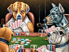 Dogs Playing Poker Smoking Art Coolidge Black Velvet Oil Painting by Jorge Terrones - #J433