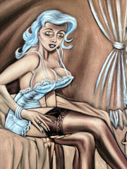 Penthouse Playboy Cartoon Just married sex lingerie Vintage Velvet Oil Painting  by Jorge Terrones - #J434