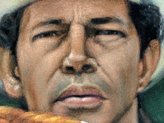 "Warren Oates as Frank Mansfield in ""Cockfighter"" movie Original Oil Painting on Black Velvet by Alfredo Rodriguez ""ARGO"" - #A326"