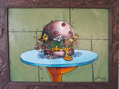 "Nasty Krabby Patty Burger Krabs SpongeBob Patty Oil on Canvas size 24""x 18"" by Palomares PM59"