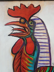 "Rooster by Palomares after Picasso / cock, abstract, chicken Oil on Canvas 24""x 18"" by Palomares PM59"