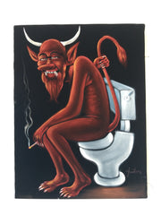"Devil Satan on toilet bano Baño bathroom shitter can portrait: Original oil painting on black velvet by Santos Llamas size (24""x18"") #sa229"