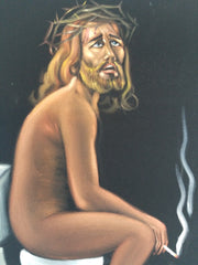 "Jesus Christ on toilet bano Baño bathroom can portrait: Original oil painting on black velvet by Santos Llamas size (24""x18"") #sa232"