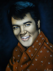 "Copy of Elvis Presley Portrait , Original Oil Painting on Black Velvet by Alfredo Rodriguez ""ARGO"" - #a479"