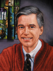 Copy of Fred Rogers ; Mister Rogers' Neighborhood; Original Oil painting on Black Velvet by Jorge Terrones - #J248