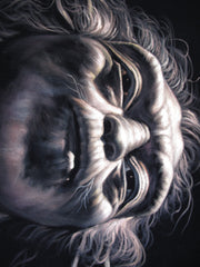 "Yoda Portrait Star Wars Art , Oil Painting Art Black Velvet ; Original Oil painting on Black Velvet by Jorge Terrones -(size 18""x24"")- J406"