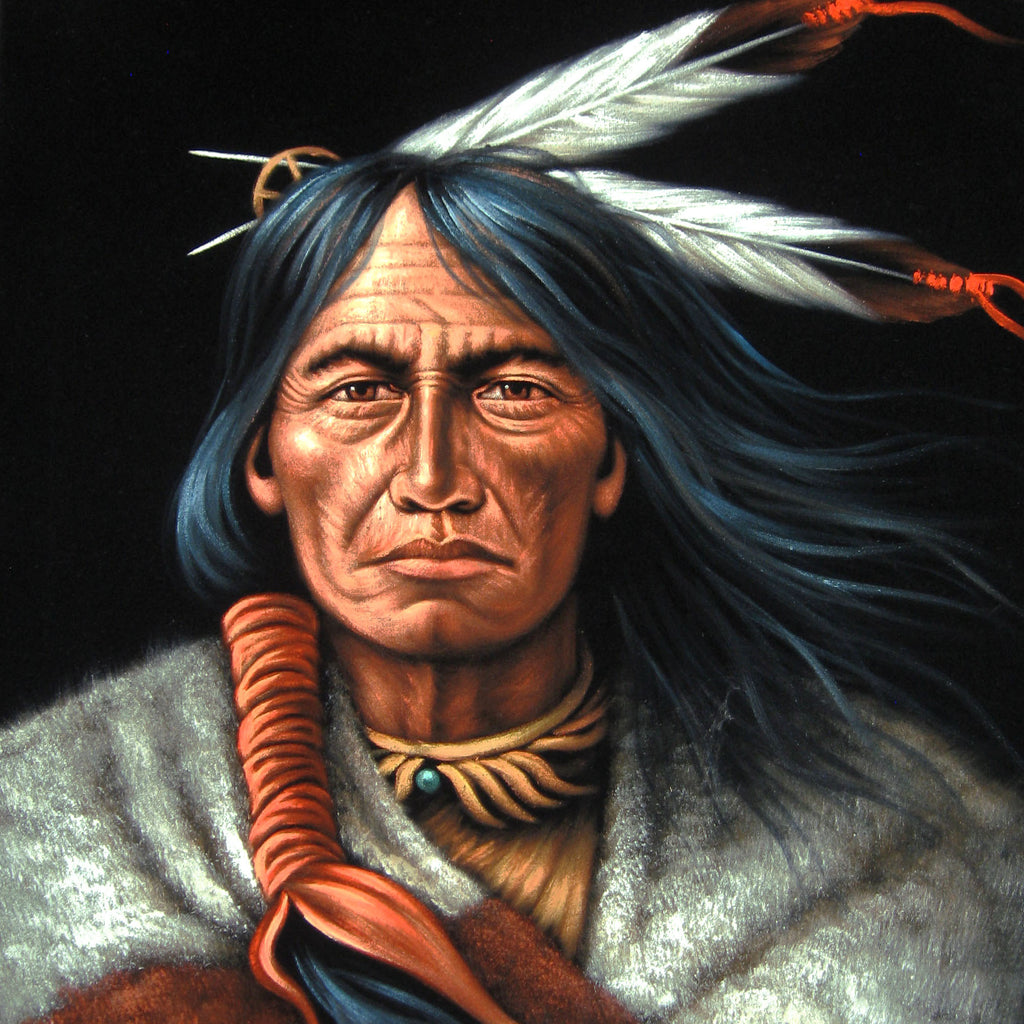 "American Indian Portrait; Feathers; Original Oil Painting on Black Velvet ;   by Jorge Terrones -(size 18""x24"")-p2 J014"