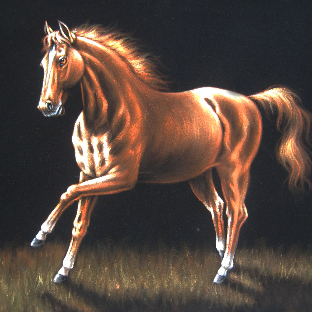 "Horse running in grass ; Original Oil Painting on Black Velvet ;   by Jorge Terrones -(size 18""x24"")-p2 J021"