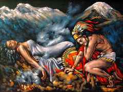 "Aztec Lovers, Popocatepetl & Iztaccíhuatl  ; Original Oil Painting on Black Velvet ;   -(size 18""x24"")-p1 J107"