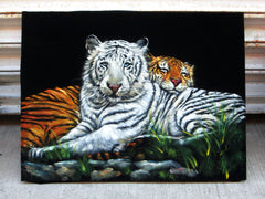 "Bengal and White Tigers ;Original Oil Painting on Black Velvet ;  by Jorge Terrones -(size 18""x24"")-p2 J116"