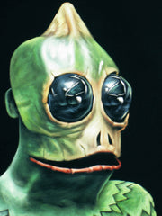 Sleestak portrait; Land of the Lost; Lizard man Sleestack, Original Oil painting on Black Velvet by Jorge Terrones - #j252-v2