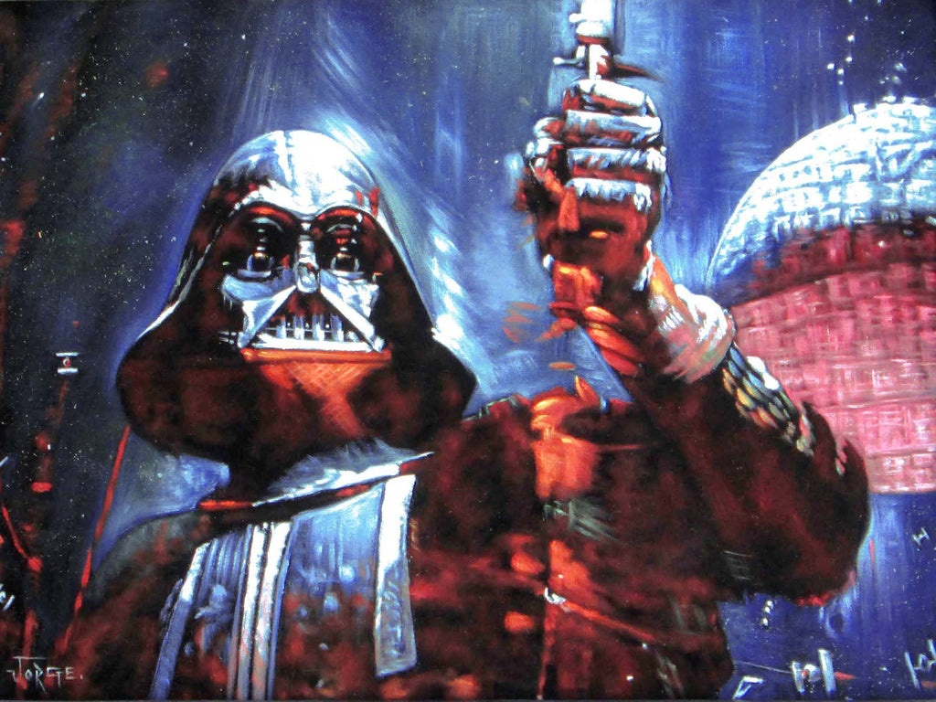 "Darth Vader with Death Star; Star Wars Art ; Original Oil Painting on Black Velvet ;   by Jorge Terrones -(size 18""x24"")-p1 J185"