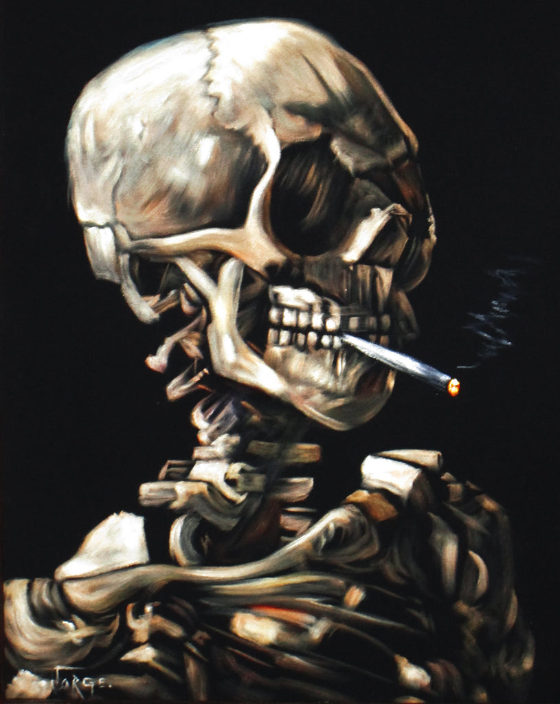 Smoking Skull (Vincent van Gogh) Pirates of the Caribbean Tiki voodoo ; Original Oil painting on Black Velvet by Jorge Terrones - #J200