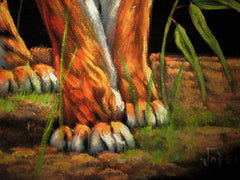 "Bengal tiger in grass ; Original Oil Painting on Black Velvet ;  by Jorge Terrones -(size 18""x24"")-p1 J242"
