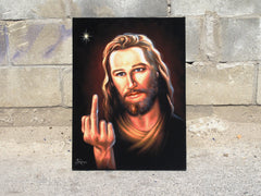 "Jesus Christ  middle finger; ""Bird of Christ""  ; Original Oil painting on Black Velvet by Jorge Terrones - #j245"