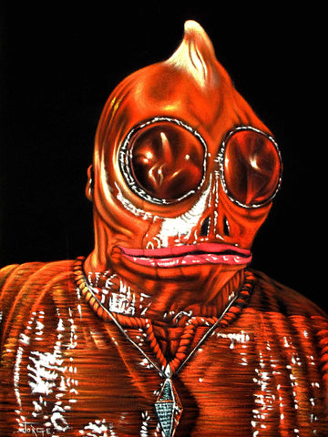 Sleestak Enik portrait; Land of the Lost; Original Oil painting on Black Velvet by Jorge Terrones - #j252-v2