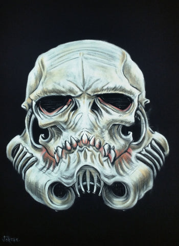 "Stormtrooper Skull, Calavera, Oil Painting Art Black Velvet ; Original Oil painting on Black Velvet by Jorge Terrones -(size 18""x24"") #velvet-J314"