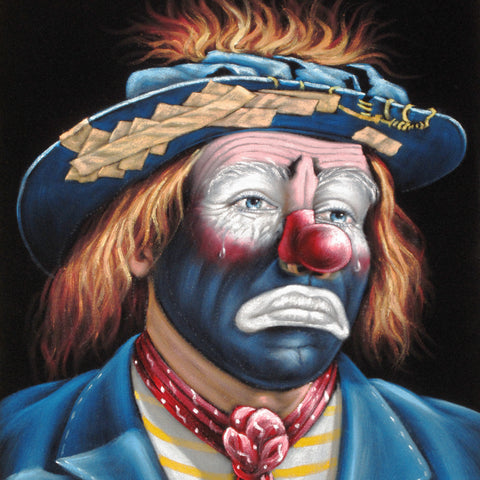 Emmett Kelly Circus Hobo Clown; Original Oil painting on Black Velvet by Jorge Terrones - #J394