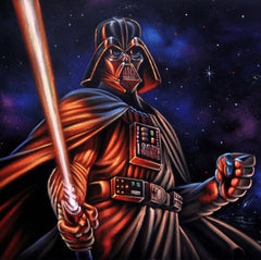 "Darth Vader with lightsaber; Star Wars Art ; Original Oil Painting on Black Velvet ;   by Jorge Terrones -(size 18""x24"")-p1 J397"