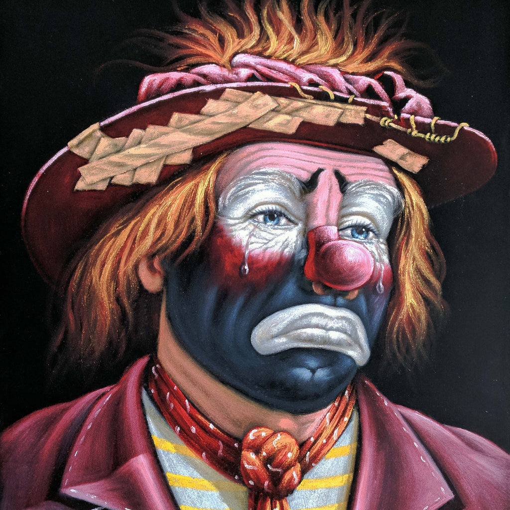 Emmett Kelly Circus Hobo Clown; Original Oil painting on Black Velvet by Jorge Terrones - #J425