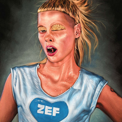Yolandi Visser Of Die Antwoord;  Original Oil painting on Black Velvet by Jorge Terrones - #j429