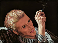 David Bowie, ziggy stardust; Original Oil painting on Black Velvet by Jorge Terrones - #J435