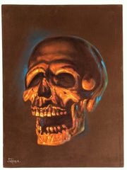 Pirates of the Caribbean Tiki voodoo Skull ; Original Oil painting on BROWN Velvet by Jorge Terrones - #J439