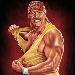 Hulk Hogan World Wrestling Federation WWF, WWE Oil Painting Black Velvet J440;Original Oil painting on Black Velvet by Jorge Terrones - #J440