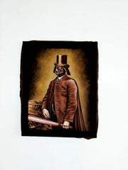 "Darth Vader Gentleman with lightsaber; Star Wars Art ; Original Oil Painting on Black Velvet ;   by Jorge Terrones -(size 22"" x 29"")-p1 J441"