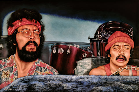 "Cheech and Chong: Up in Smoke  ; Tommy Chong; Cheech Marin; Original Oil painting on Black Velvet by Jorge Terrones (24""x36"")- #J444"