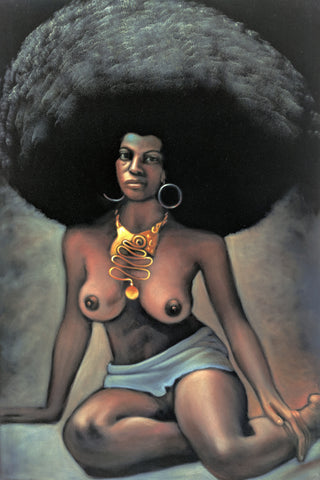 "Afro Black Sexy Nude 70's large vintage Original Oil Paint Velvet )(24""x36) JG110"