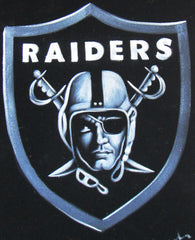 Oakland Raiders logo;NFL; Original Oil painting on Black Velvet by Zenon Matias Jimenez- #JM103