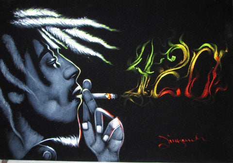 Bob Marley 420 Weed Time ; cannabis;marijuana;smoking ; Original Oil painting on Black Velvet by Zenon Matias Jimenez- #JM106