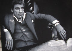 Tony Montana portrait; Al Pacino; Scarface; Original Oil painting on Black Velvet by Zenon Matias Jimenez- #JM107