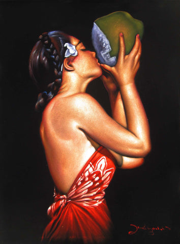 "Polynesian Girl with Coconut ; ""Nectar"" reproduction of an Edgar Leeteg Oil; on Black Velvet by Zenon Matias Jimenez- #JM119"