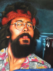 Cheech & Chong; Up in Smoke;  Original Oil painting on Black Velvet by Zenon Matias Jimenez- #JM120