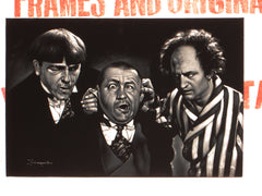 Three Stooges; Moe, Larry Fine, and Curly Howard;  Original Oil painting on Black Velvet by Zenon Matias Jimenez- #JM121