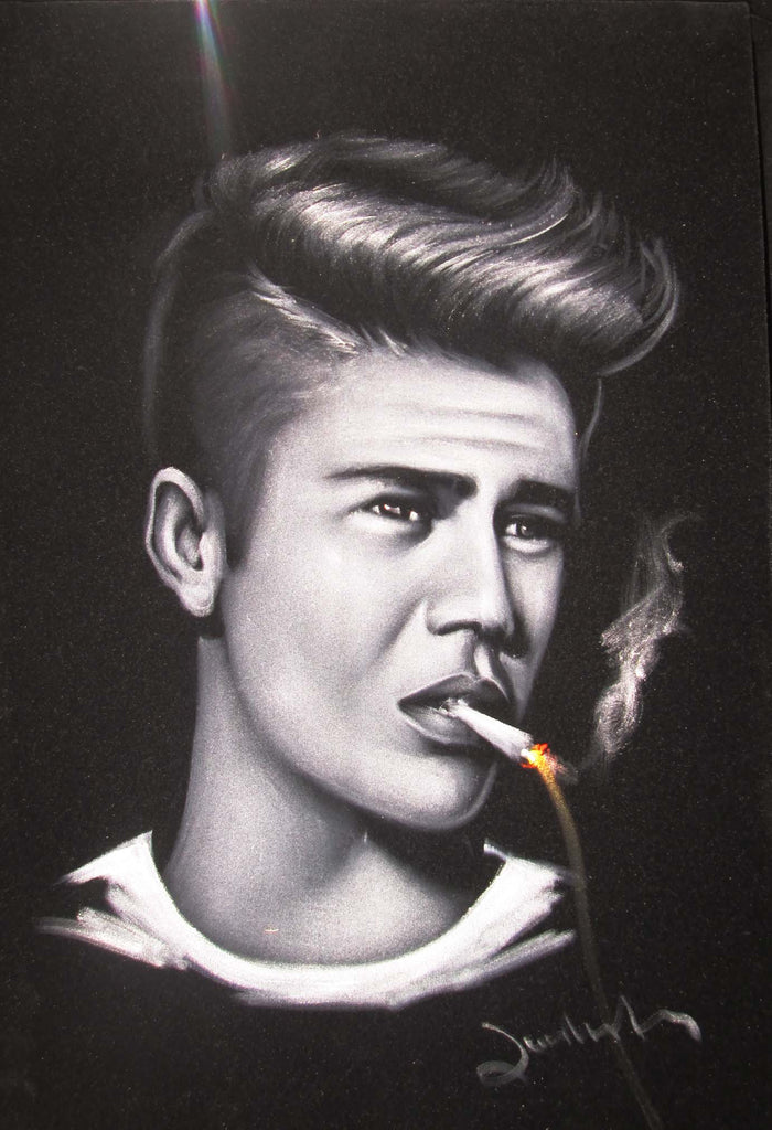 justin bieber portrait smoking original oil painting on black
