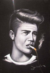 Justin Bieber portrait; smoking; Original Oil painting on Black Velvet by Zenon Matias Jimenez- #JM127