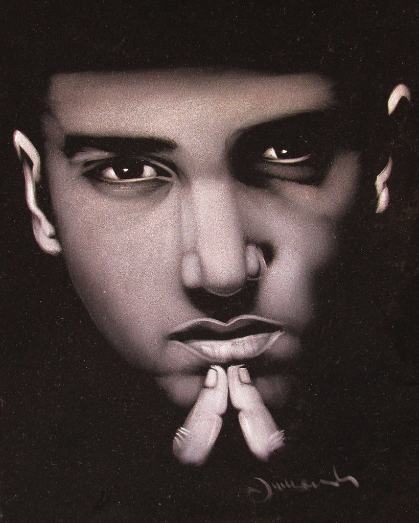 Eminem portrait; Calvin Cordozar Broadus, Jr; Original Oil painting on Black Velvet by Zenon Matias Jimenez- #JM12