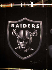 Oakland Raiders logo; Calavera half skull; Original Oil painting on Black Velvet by Zenon Matias Jimenez- #JM131