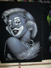 Marilyn Monroe Clown portrait; Original Oil painting on Black Velvet by Zenon Matias Jimenez- #JM133