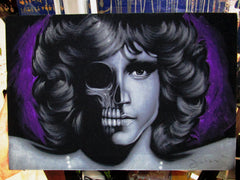 Jim Morrison Calavera Skull Portrait ; Original Oil painting on Black Velvet by Zenon Matias Jimenez- #JM134