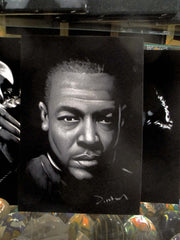 Dr. Dre Portrait ; Original Oil painting on Black Velvet by Zenon Matias Jimenez- #JM139